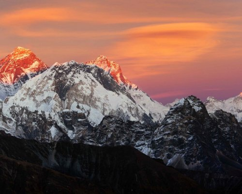 Evening sunset view of Mount Everest, Lhotse and Makalu from Renjo pass. Three passes and Mt Everest base camp trek, Khumbu valley, Solukhumbu, Sagarmatha national park, Nepal Himalayas mountains